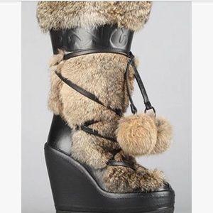 Ash Yeti Real Fur Pom Pom Tall Wedge Boots SZ 7